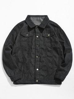 Loose Fit Button Fly Denim Jacket - Black L