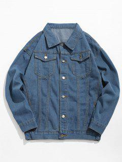 Loose Fit Button Fly Denim Jacket - Denim Blue 2xl