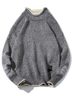 Cat Embroider Double Hem Collar Sweater - Carbon Gray S