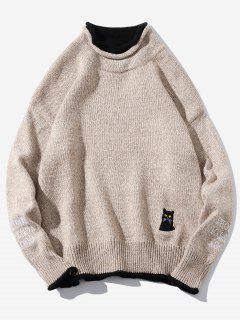 Cat Embroider Double Hem Collar Sweater - Light Khaki L