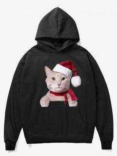 Kangaroo Pocket Christmas Cat Pattern Hoodie - Black Xl