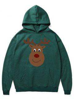 Cartoon Christmas Elk Printed Pullover Hoodie - Medium Sea Green S