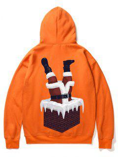 Santa Claus And Chimney Pattern Fleece Hoodie - Orange M