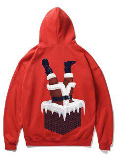 Santa Claus And Chimney Pattern Fleece Hoodie - Lava Red 2xl