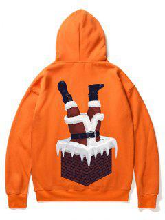 Santa Claus And Chimney Pattern Fleece Hoodie - Orange 2xl