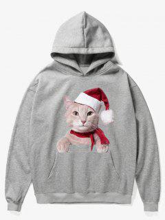 Kangaroo Pocket Christmas Cat Pattern Hoodie - Gray Cloud L