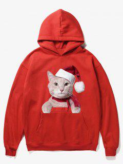 Kangaroo Pocket Christmas Cat Pattern Hoodie - Lava Red Xl