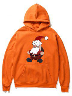 Cartoon Santa Claus Pullover Fleece Hoodie - Orange Xl