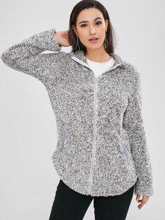 Manteau Simple Avec Zip En Avant En Fausse Fourrure - Gris S