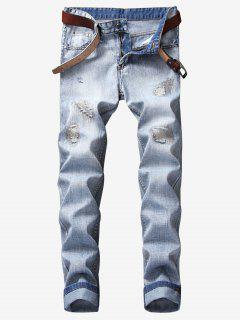 Ripped Zigzag Stitching Patch Jeans - Jeans Blue 34