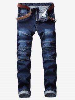 Knee Pleated Stitch Jeans - Denim Dark Blue 42