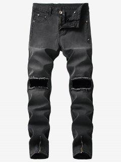 Hem Zipper Knee Hole Jeans - Black 34