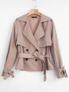 ZAFUL Double Breasted Trench Coat With Belt - Khaki Rose Xl