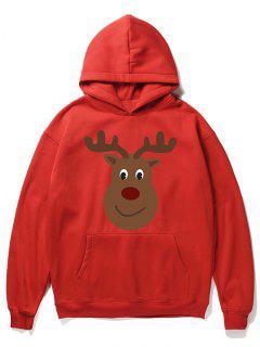 Cartoon Christmas Elk Printed Pullover Hoodie - Lava Red M