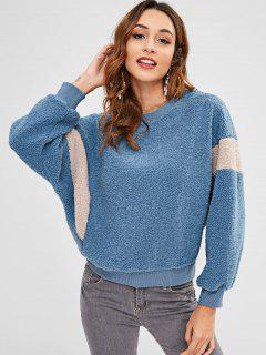 Color Block Faux Fur Sweatshirt - Silk Blue