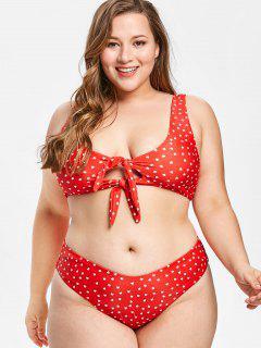 ZAFUL Plus Size Herz Verknotet Bikini Set - Lava Rot 1x