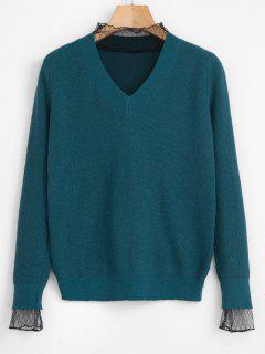 Pull Simple Panneau En Maille Transparente En Tricot - Turquoise Foncée