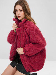 Slip Pockets Faux Fur Teddy Coat - Red L