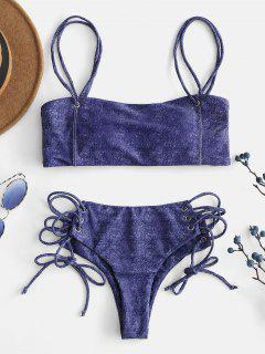 ZAFUL Faux Denim Lace Up Cami Bikini Set - Navy Blue M
