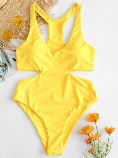 ZAFUL Racerback Cut Out Swimsuit - Yellow M