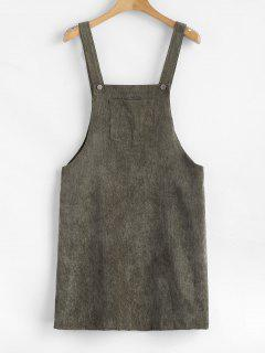 ZAFUL Front Pocket Corduroy Pinafore Dress - Camouflage Green S