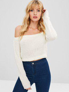 ZAFUL Off Shoulder Crop Chunky Sweater - White M