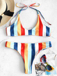 ZAFUL Rainbow Striped Halter Bikini Set - Multi M