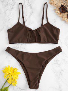 ZAFUL Cutout Cami Bralette Bikini Set - Kaffee M