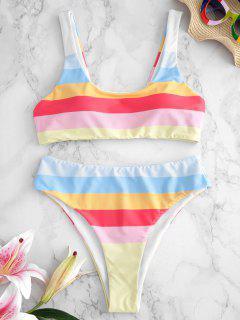 ZAFUL Striped High Cut Bikini Set - Multi M