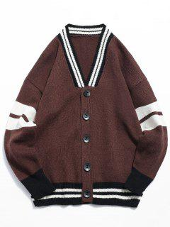 Button Fly Color Spliced Kintted Cardigan - Coffee Xl
