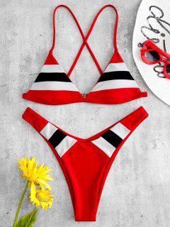 ZAFUL Striped Cami Bikini Set - Rot L