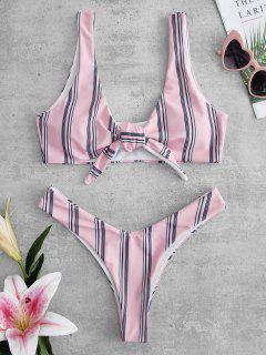 ZAFUL Striped Knotted Bikini Set - Pig Pink L