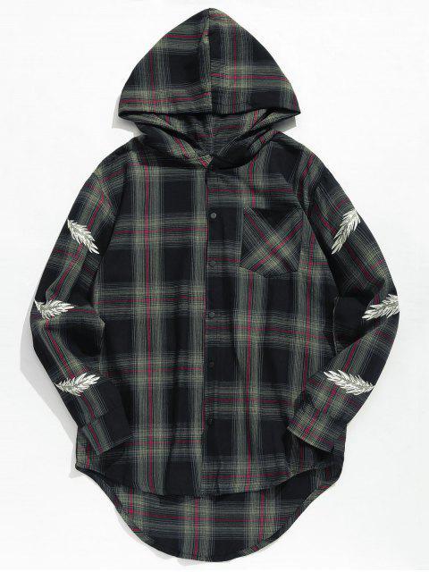 women's Feather Print Plaid Hooded Shirt - BLACK XL Mobile