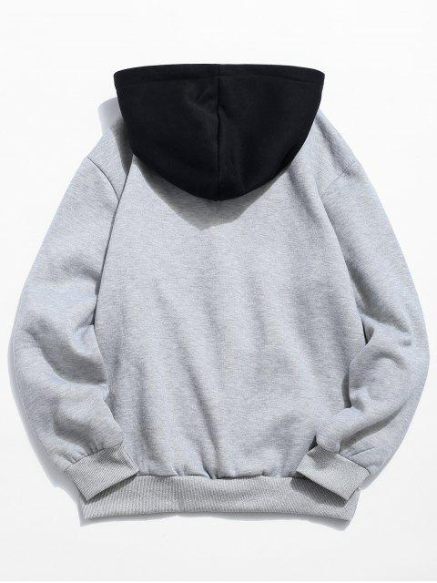 womens Color Block Letter Patch Detail Pouch Pocket Fleece Hoodie - LIGHT GRAY XS Mobile