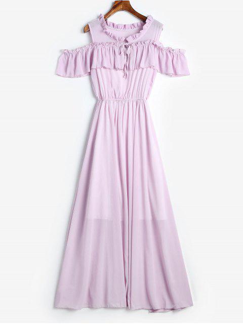 Maxi Robe à Epaule Dénudée à Volants - Violet Wisteria M Mobile