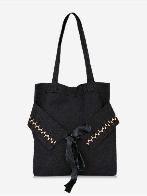 shop Bowknot Canvas Shoulder Bag - BLACK  Mobile
