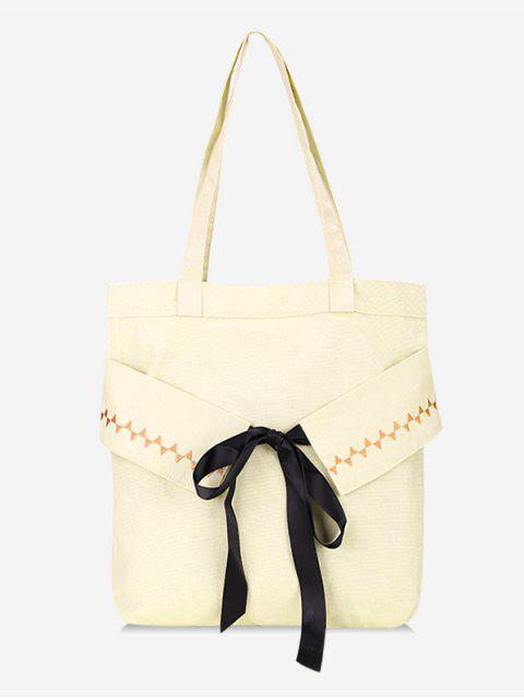 latest Bowknot Canvas Shoulder Bag - WARM WHITE  Mobile