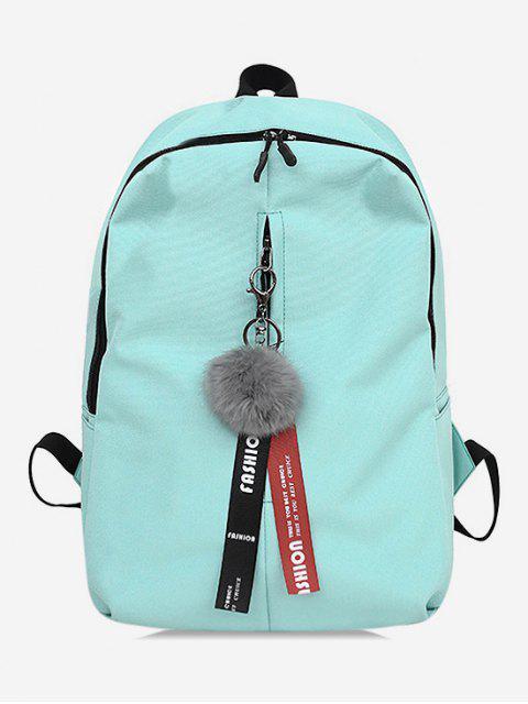 trendy Faux Fur Ball Letter Print School Backpack - LIGHT AQUAMARINE  Mobile