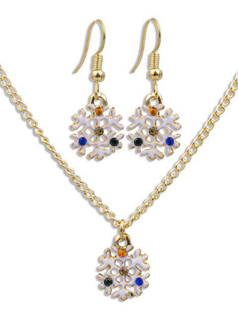 fashion Christmas Snowflake Party Jewelry Set - GOLD  Mobile