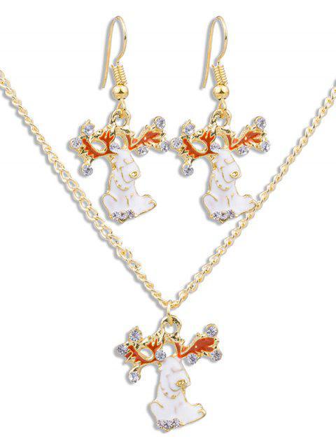 chic Christmas Rhinestone Animal Jewelry Set - GOLD  Mobile