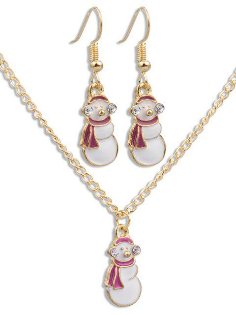 unique Christmas Snowman Alloy Jewelry Set - GOLD  Mobile
