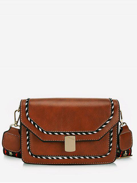 sale Striped Print PU Leather Crossbody Bag - LIGHT BROWN  Mobile