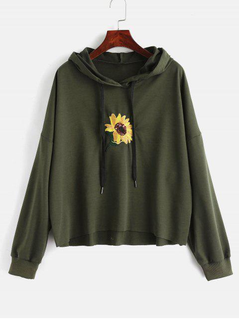 Pailletten-Blume gestickter Hoodie - Armeegrün S Mobile