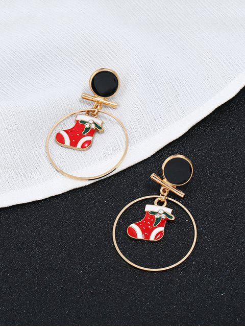 fancy Stylish Christmas Boots Rhinestone Round Earrings - GOLD  Mobile