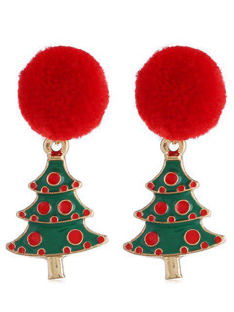 women's Christmas Tree Pom Pom Party Earrings - MULTI  Mobile