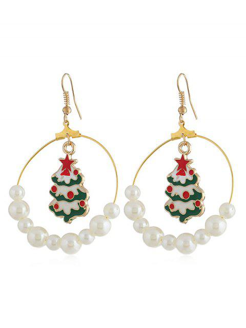 hot Christmas Tree Faux Pearl Party Drop Earrings - GOLD  Mobile