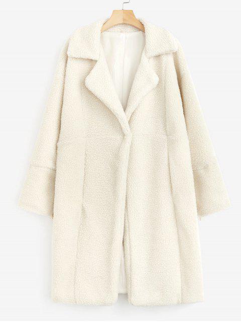 Manteau d'Hiver Long Fourré en Fausse Laine - Beige XL Mobile