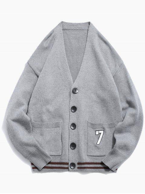 Cardigan Tricoté Boutonné en Couleur Unie - Nuage Gris XL Mobile