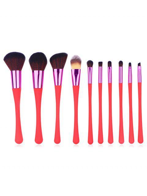 Ensemble de Pinceaux de Maquillage en Fibre Synthétique avec Manche Plasitique 10 Pièces - Rouge Ordinaire Mobile