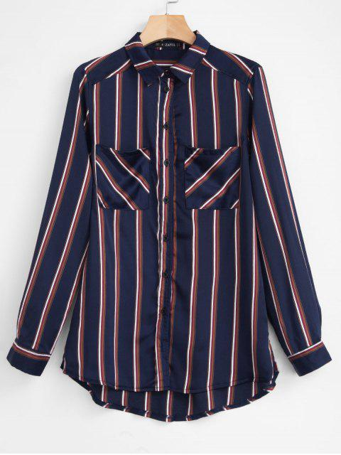 outfit ZAFUL Chest Pockets Striped Shirt - DEEP BLUE S Mobile